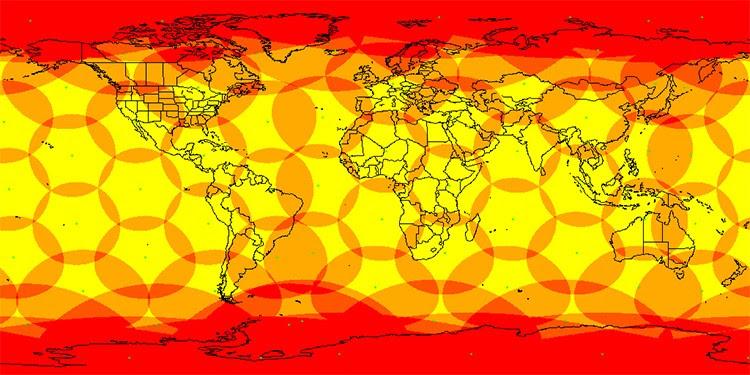 Mapa de satélites de la red Iridium con cobertura mundial