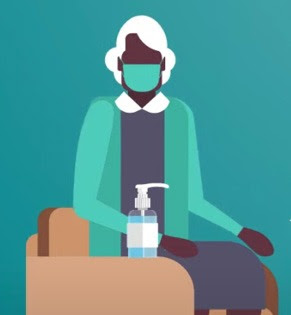 Illustration of woman wearing mask sitting in chair with bottle of hand sanitizer