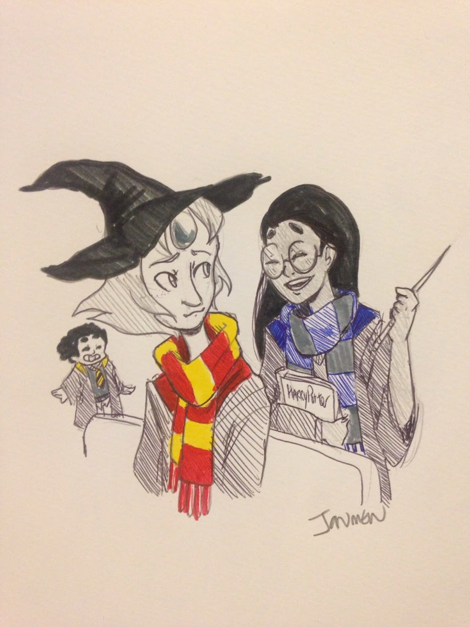 Inktober day 10- tv show characters in their hogwarts houses! This is another one from @thatsthat24 s prompts