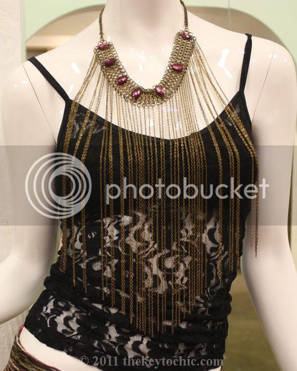 Beach Bunny Swimwear Malibu, chain fringe necklace, lace tank top