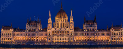 House of parliament in Budapest by night, blue hour