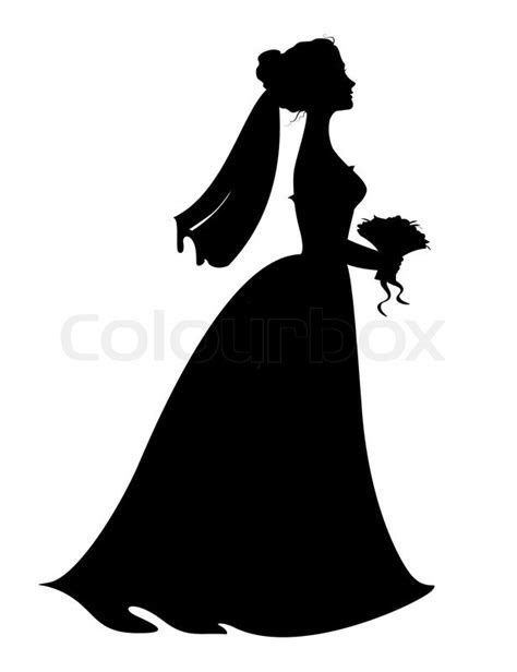 Silhouette of bride with bridal bouquet. Eps 8 vector