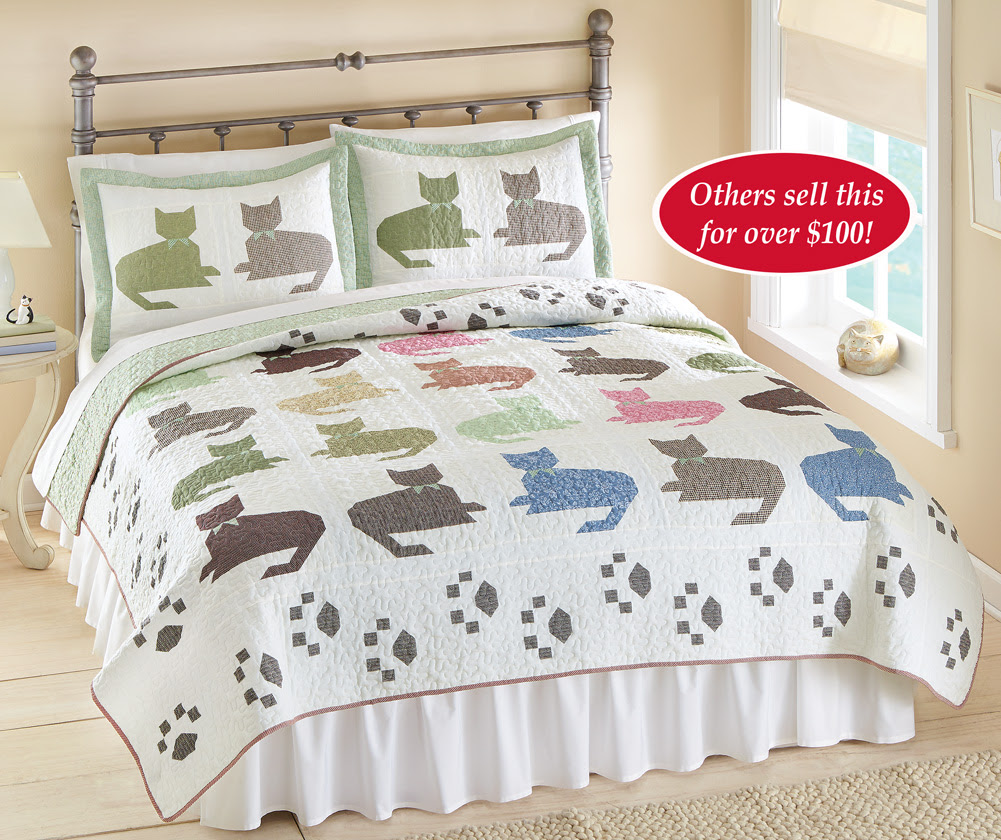 Reversible Colorful Cat Quilt