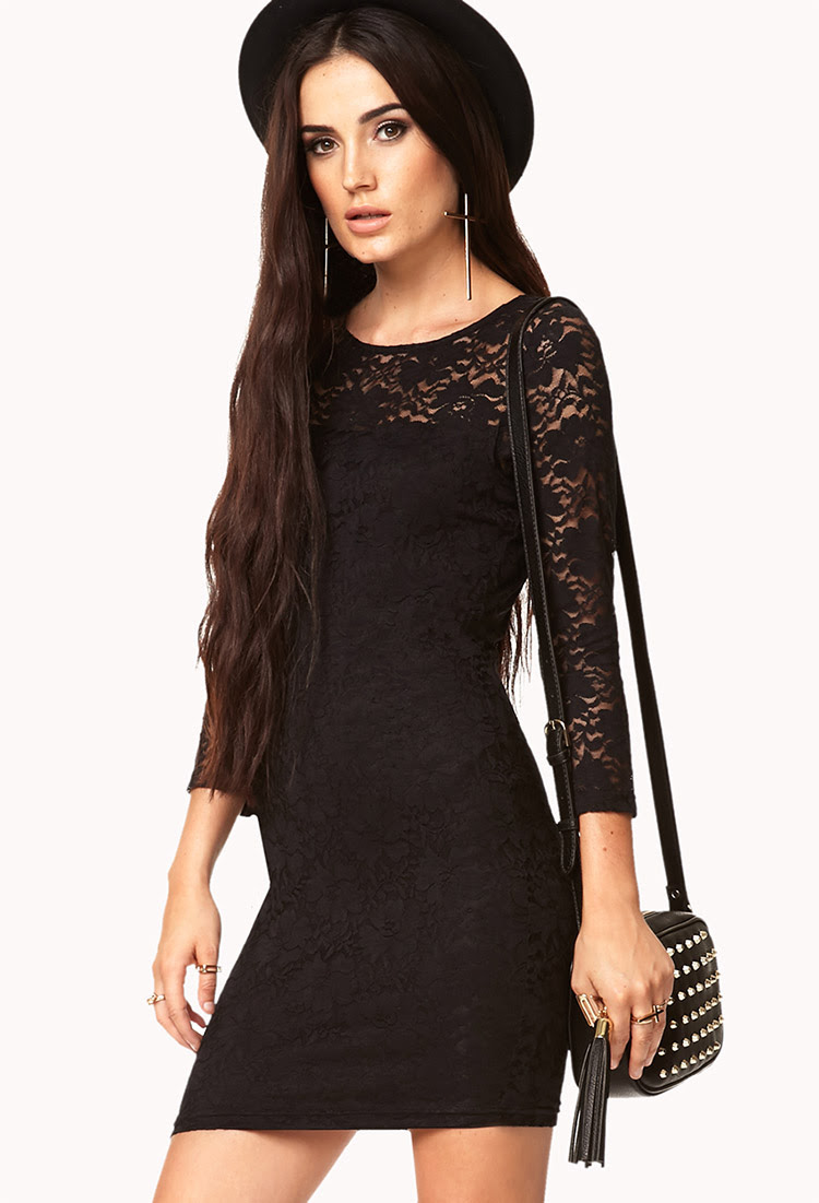 14aad93598d Little Black Lace Dress Forever 21 Foto And Picture. Black Lace Long Sleeve  ...