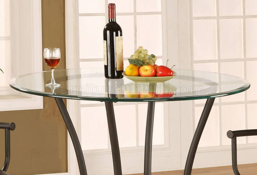 Metal Base Glass Top Contemporary Counter Height Dinette Table