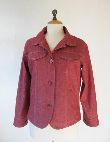 Red denim jacket front