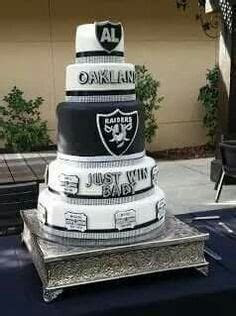 Oakland RAIDERS Football Wedding Cake Topper Bride and