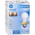 GE Reveal HD+ Light Light Bulbs, Enhanced Spectrum Halogen, 43 Watts - 4 pack