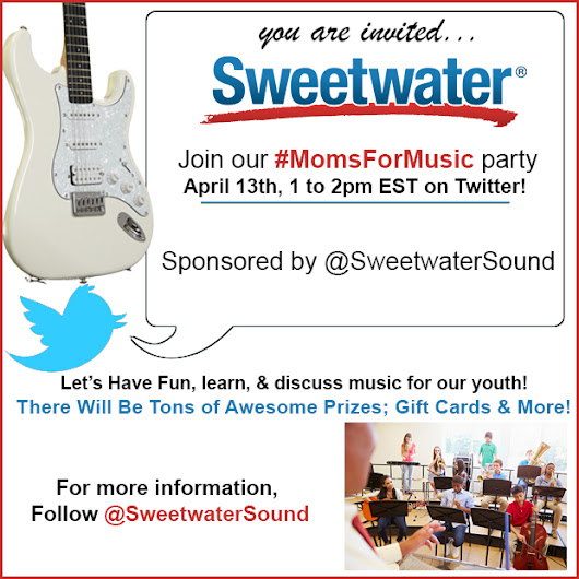 Join @SweetwaterSound for a #MomsForMusic Twitter Party! Visa Gift Cards and More! - Your Life After 25: