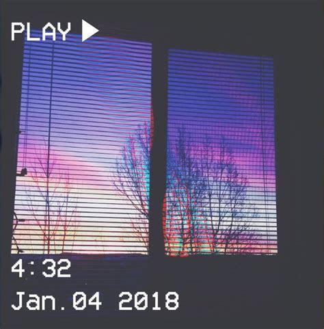 vhs aesthetic sunset window