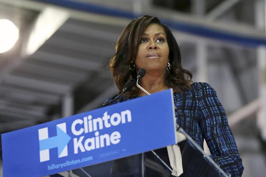 "First Lady Rips Trump for ""Obscene"" Talk, ""Abuse"" of Women 