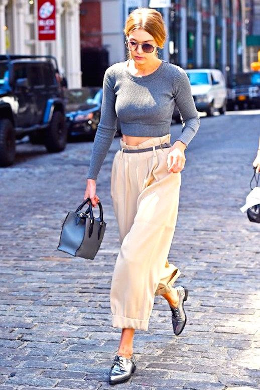 Le Fashion Blog Gigi Hadid Model Off Duty Grey Crop Top Paper Bag Trousers Silver Flats Via Vogue