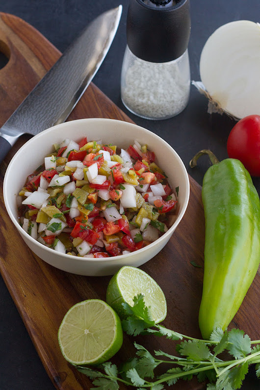 Roasted Hatch Chile Pico de Gallo for National Knife Day!