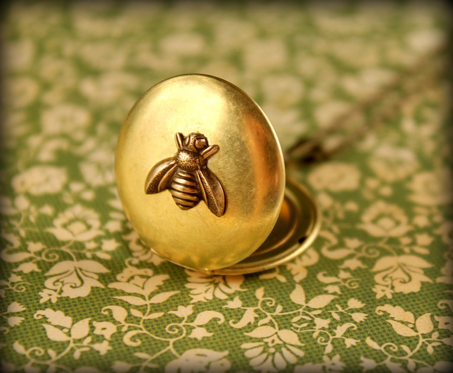 Brass Bee Locket Necklace - saffronandsaege