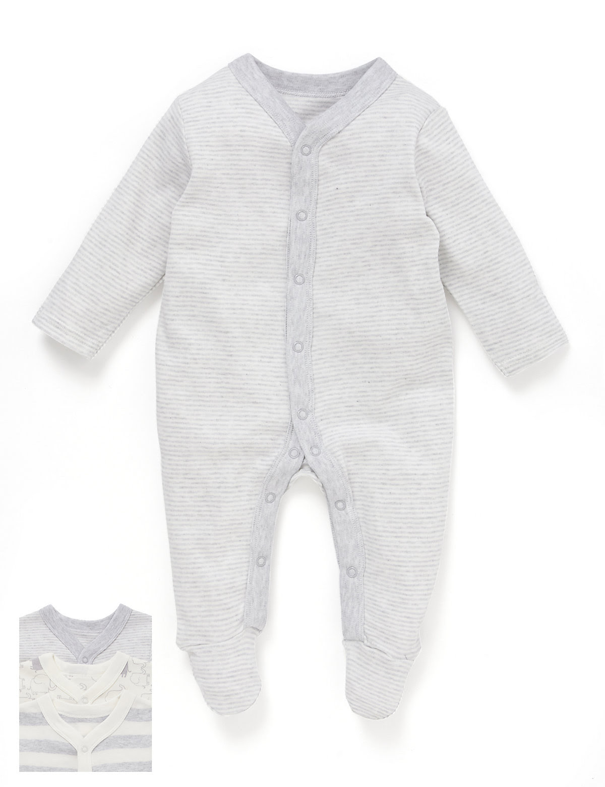 Three Pack Unisex Elephant Print Sleepsuits