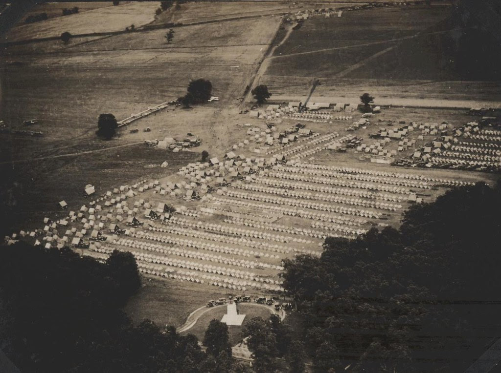 Aerial View Of Gettysburg Reenactment Camp 1922 From