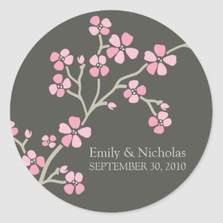Cherry Blossom Wedding Invitation Seal (pink) zazzle_sticker