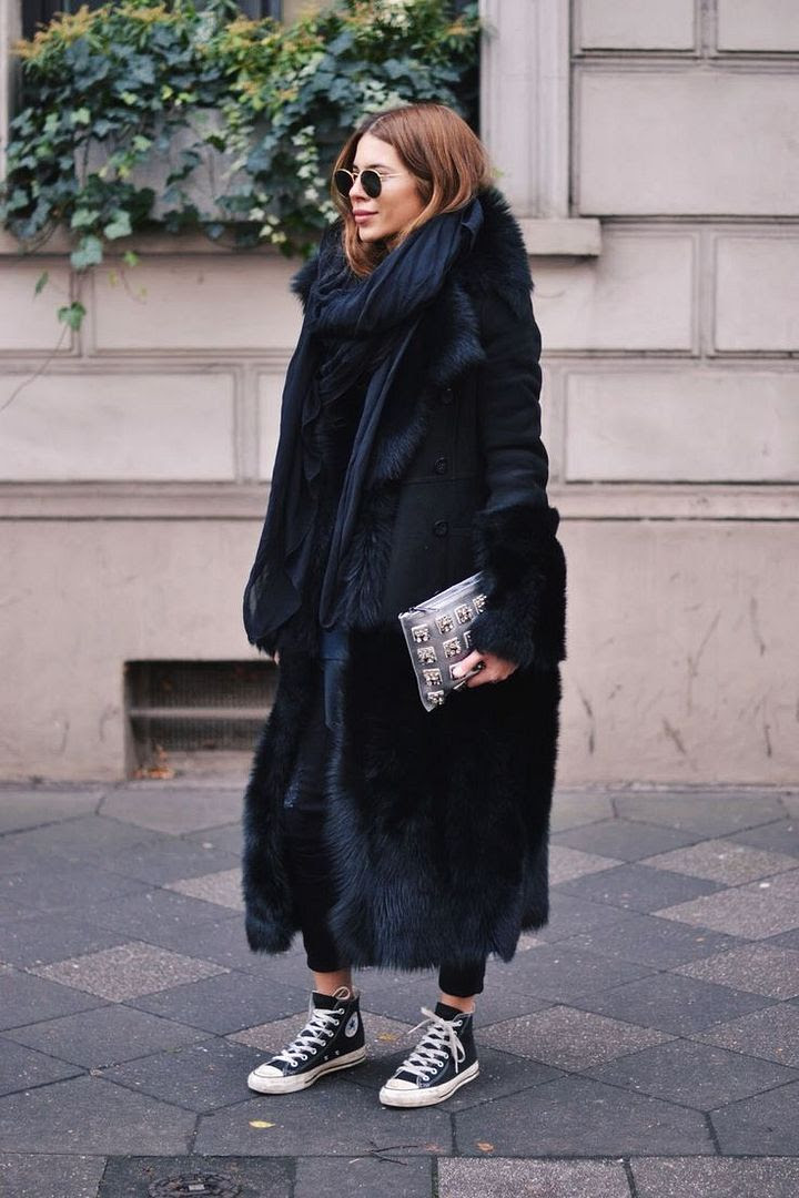 Le Fashion Blog Ways To Wear Black High Top Converse Sneakers Round Sunglasses Fur Coat Layers Blogger Style Via Maja WYH
