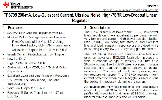 Datasheet Tutorial: Texas Instruments TPS799 Low-Dropout Linear Voltage Regulator