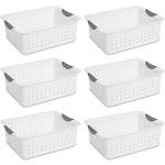 Sterilite Medium Ultra Plastic Storage Organizer Basket, White (6 Pack) 16248006 by VM Express