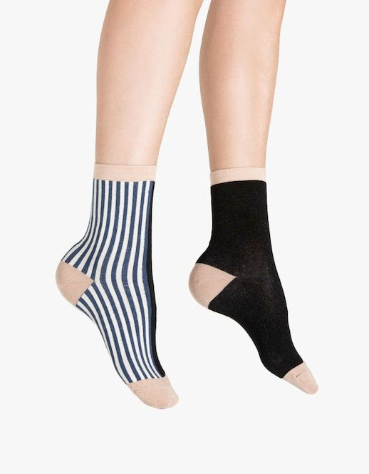 Le Fashion Blog Striped And Solid Mismatched Hansel From Basel Socks Via Need Supply