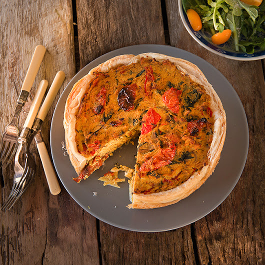Spinach Shiitake and Tomato Quiche - Food and Beveridge