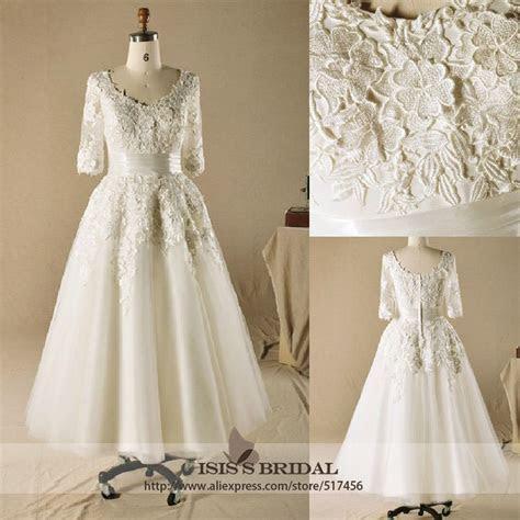 Wholesale Vintage plus size V neck A line lace 3 4 sleeve