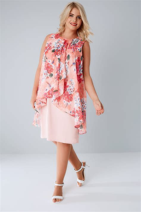 Pink & Coral Floral Printed Dress With Layered Front