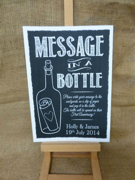 personalised chalk style message   bottle sign print