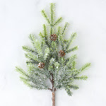 Frosted Artificial Cypress Pine Stem, 10 1/2'' long, Green, Craft Supplies
