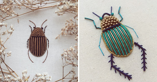 I Create Embroidered Art Inspired By Entomology And Botanical Illustrations