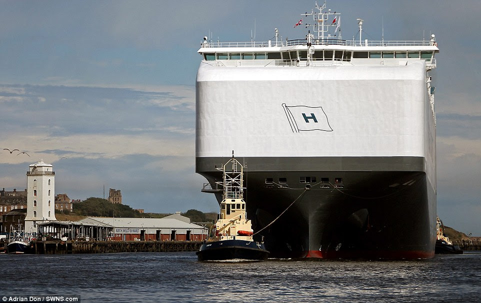 The world's biggest car carrier, registered to Norwegian firm Hoegh Autoliners, was officially launched in June and has since sailed from Xiamen, China, to Britain via ports in South Korea, Japan, Italy, Spain, Holland and Belgium. It will return to East Asia in the near future