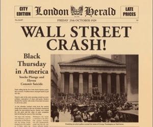 La notizia del crollo della borsa di Wall Street riportata da un giornale d'epoca
