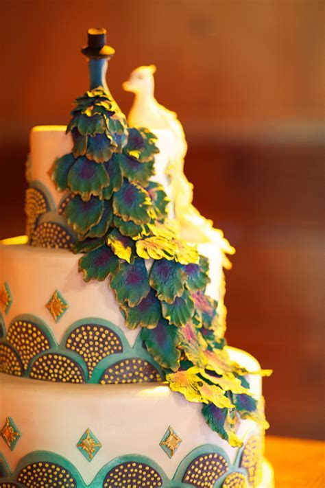 Peacock Themed Wedding Cake   Elizabeth Anne Designs: The