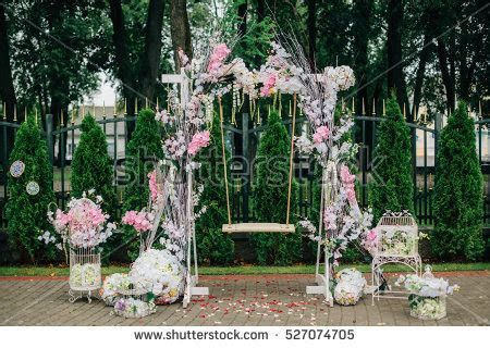 Wedding Arch Swing Flower Decoration Stock Photo 527074705