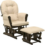 Stork Craft Hoop Glider Chair and Ottoman Set, Beige/Espresso