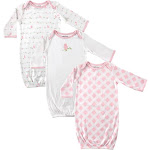 Luvable Friends Baby Girls' Gowns 3 Pack Pink Bird 0-6 Months