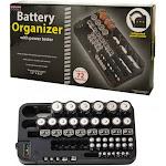 AllTopBargains OT237 72 Battery Organizer Power Tester Caddy Storage Wall Holder Rack AAA D AA C 9V, Black