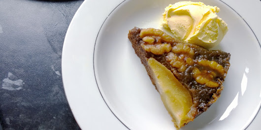 Upside-down ginger pear and walnut cake