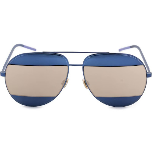Christian Dior DIOR-SUNG-SPLIT1-0QAOUE-59 Aviator Sunglasses, Blue/Ivory