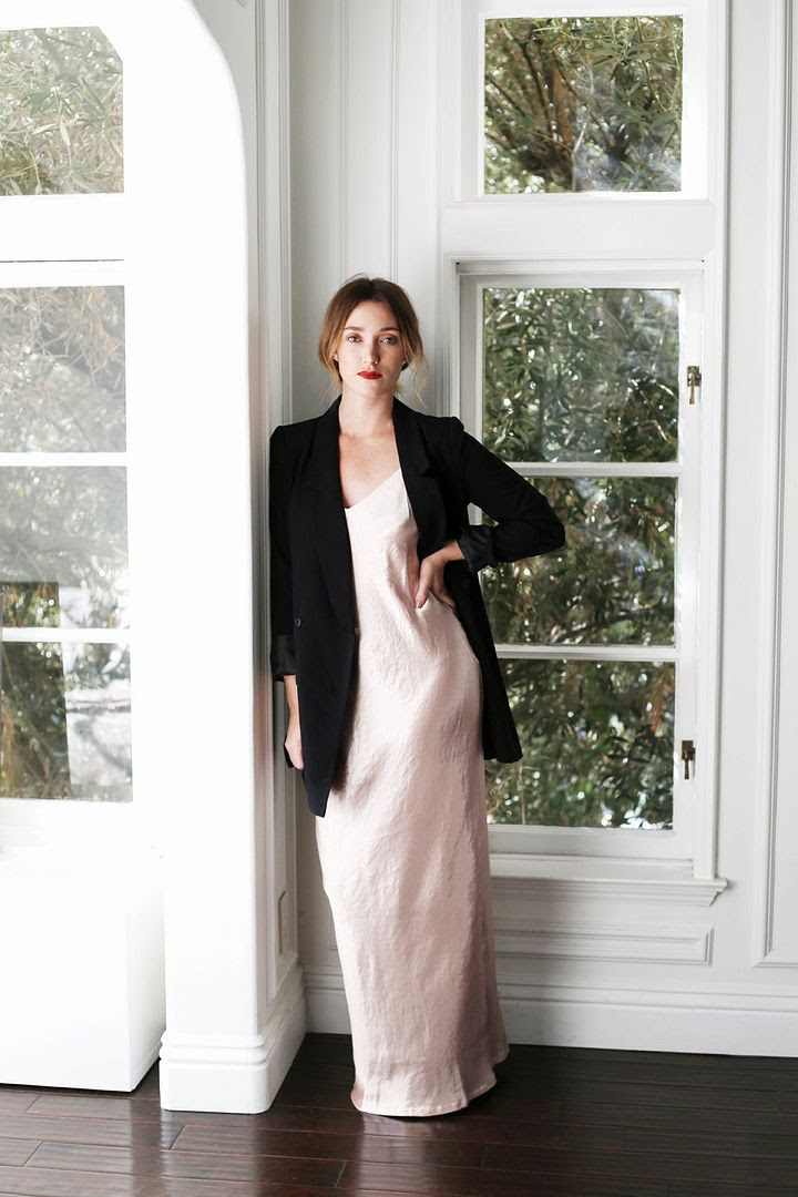 New Years Eve Party Outfit Ideas Lauren Conrad Kohls Boyfriend Blazer Pink Silk Slip Dress Red Lipstick Photographer Erin Pederson Model Katie Wohlers Styling Jenn Camp Le Fashion Blog
