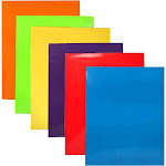 JAM Glossy - Pocket folder - 2 compartments - Letter - blue, yellow, purple, red, green, orange (pack of 6)