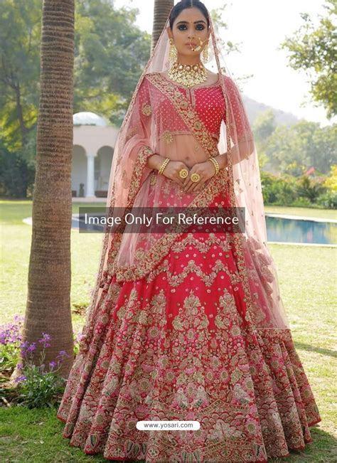 Buy Crimson Nylon Satin Heavy Embroidered Designer Wedding