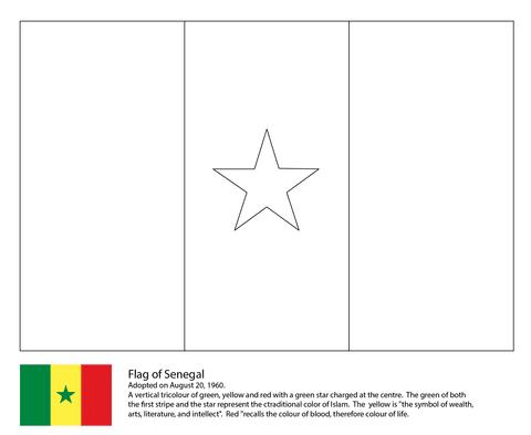 Dibujo De Bandera De Senegal Para Colorear Dibujos Para Colorear