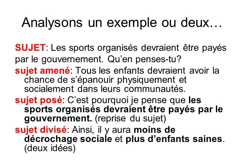 Exemple De Texte Argumentatif Sur Le Sport - Exemple de Texte