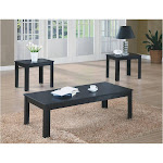 Monarch Specialties Black 3pcs Table Set