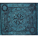 """Cycle of Ages Celtic Tapestry Cotton Spread 80"""" x 60"""" Twin Teal"""
