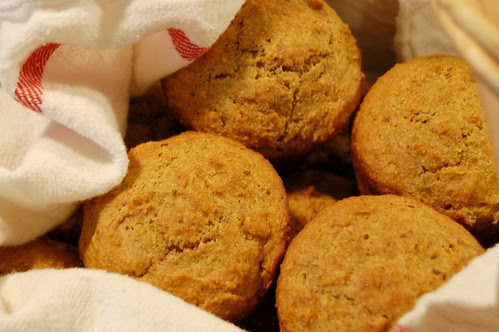 Cornmeal, rye, caraway, molasses muffin by Eve Fox, Garden of Eating blog, copyright 2011