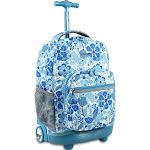 """J World New York Sunrise 18"""" Rolling Backpack - Blue Vine"""