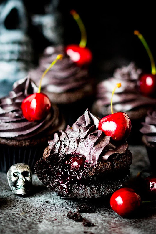 Halloween Black Cupcakes with Cherry Filling - Cupcake Daily Blog - Best Cupcake Recipes .. one happy bite at a time!